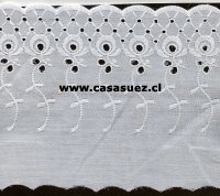 Broderie TB-0075 15.5cms. Ancho Pza: 13.80mts BLANCO-BEIGE